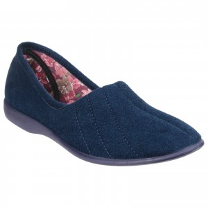 GBS Audrey Womens Slippers Navy (Sizes 3-9)