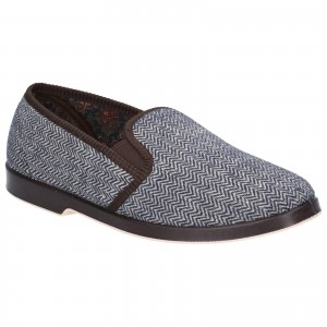 GBS Stafford Twin Gusset Slippers Brown (Sizes 6-13)