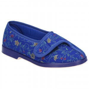 GBS Wilma Womens Wide Fit Slippers Blue (Sizes 3-9)