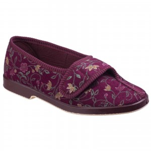GBS Wilma Womens Wide Fit Slippers Red (Sizes 3-9)