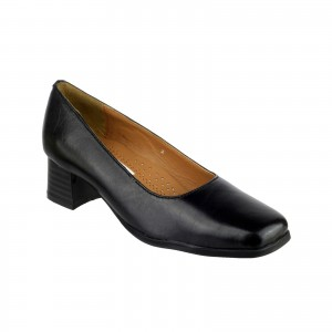Amblers Walford Ladies Wide Fit Court Shoes Black (Sizes 3-8)