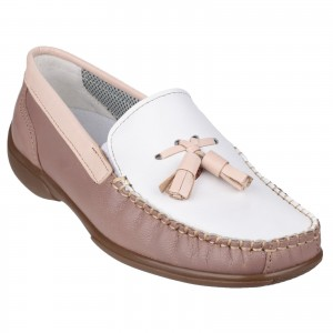 Cotswold Biddlestone Womens Loafer Shoes White & Beige (Sizes 3-9)