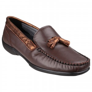 Cotswold Biddlestone Womens Loafer Shoes Brown (Sizes 3-9)