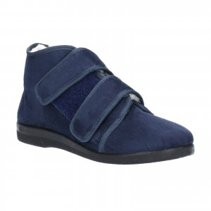 GBS Torbay Womens Extra Wide Fit Slippers Navy (Sizes 3-6.5)