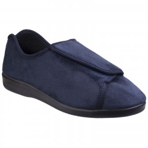 GBS Walton Womens Touch Fastening Slippers Navy (Sizes 3-6.5)