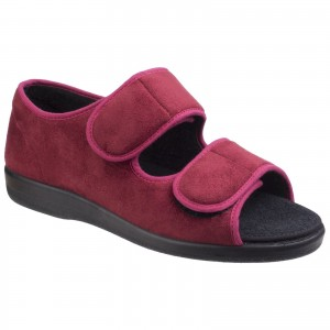 GBS Womens Brompton Touch Fastening Slippers Red (Sizes 3-6.5)