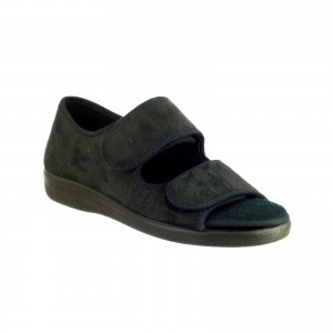 GBS Brompton Touch Fastening Slippers Black (Sizes 7-12)