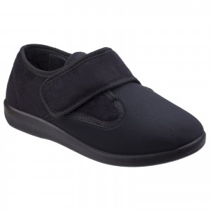 GBS Frenchay Womens Touch Fastening Slippers Black (Sizes 3-6.5)