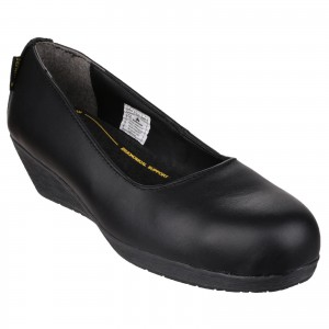Amblers FS107 Womens Memory Foam Wedged Safety Court Shoes Black (Sizes 3-8)