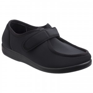 GBS Northwick Touch Fastening Slippers Black (Sizes 3-6.5)