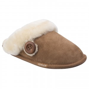 Cotswold Lechlade Womens Sheepskin Mule Slippers Brown (Sizes 3-8)