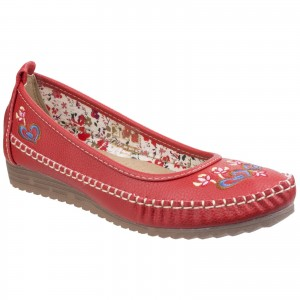 Fleet & Foster Algarve Moccasin Womens Summer Shoes Red (Sizes 3-8)