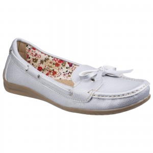 Fleet & Foster Alicante Womens Boat Shoes Silver (Sizes 3-8)