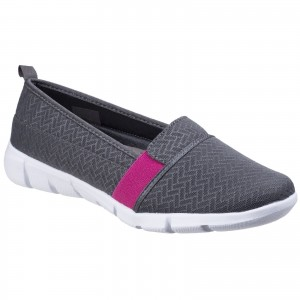 Fleet & Foster Canary Womens Summer Loafer Shoes Grey (Sizes 3-8)