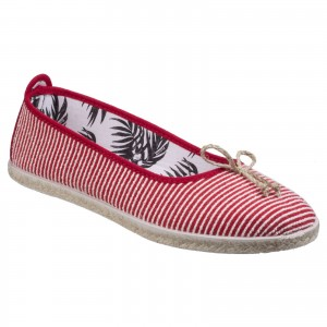 Flossy Sabroso Womens Ballerina Canvas Shoes Red (Sizes 4-7)