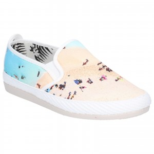 Flossy Pastel Womens Canvas Printed Shoes White (Sizes 3-7)