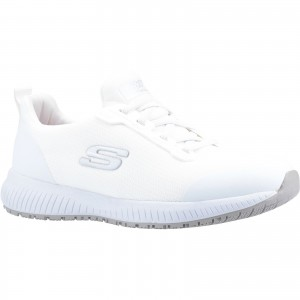 Skechers Squad Womens Occupational Trainer Shoes White (Sizes 2-9)