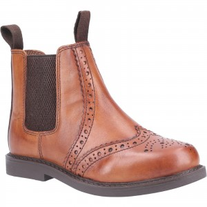 Cotswold Nympsfield Childrens Brogue Chelsea Dealer Boots Tan (Sizes 10-5)