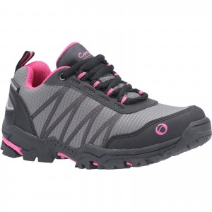 Cotswold Littledean Childrens Waterproof Hiking Shoes Grey & Pink (Sizes 10-6.5)