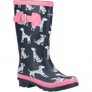 Cotswold Spot Childrens Wellington Boots Navy & Pink (Sizes 8-5)