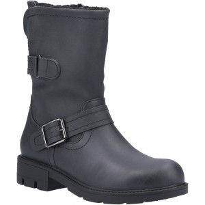 Divaz Whitney Womens Fur Lined Buckle Boots Black (Sizes 3-8)