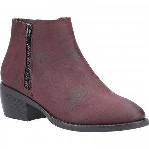 Divaz Ruby Womens Zip Ankle Boots Burgundy (Sizes 3-8)