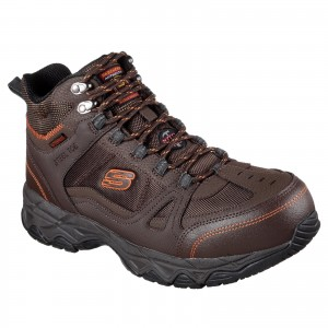 Skechers Ledom Waterproof Safety Work Boots Brown (Sizes 6-12)