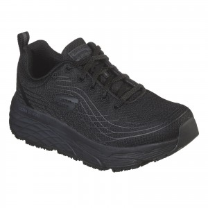 Skechers Max Cushioning Elite Womens Occupational Trainer Shoes Black (Sizes 3-8)