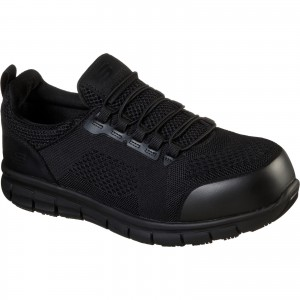 Skechers Synergy Omat Safety Work Trainer Shoes Black (Sizes 6-12)