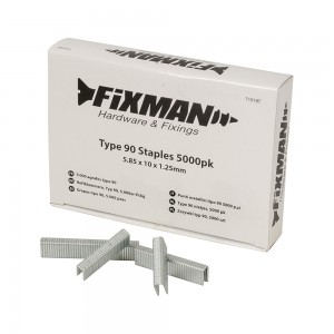 Fixman Heavy Duty Type 90 Narrow Crown Staples Pack of 5000 (Various Sizes)