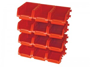 Faithfull 12 Plastic Storage Bins With Wall Mounting Rails