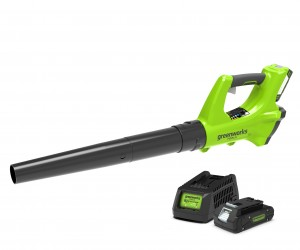 Greenworks G24ABK2 Cordless 24v Garden Axial Leaf Blower 99mph with Battery