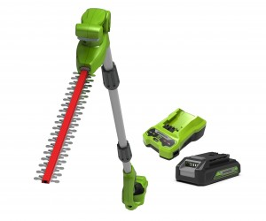 Greenworks G24PH51K2 Cordless 24v Long Reach Cordless Hedge Trimmer 51cm/20in with Battery