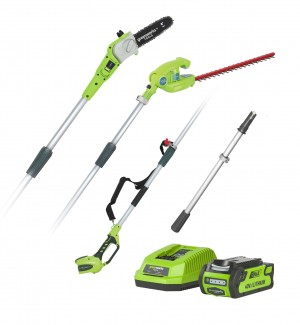 Greenworks G40PSH Cordless 40v Pole Saw & Long Reach Hedge Trimmer with Battery