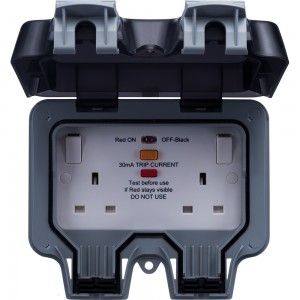 BG Outdoor Weatherproof 2-Gang Latching RCD Switched Socket 13amp 240v