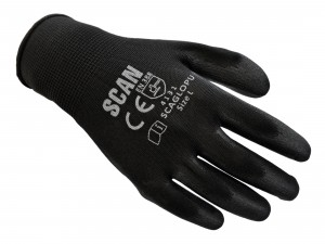 Scan PU Coated Safety Work Gloves Black Pack of 10