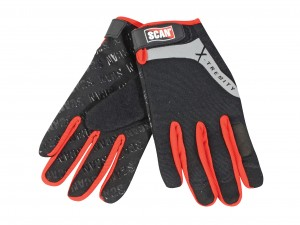 Scan Touchscreen Safety Work Gloves Black & Red