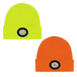 Unilite Hi-Vis Beanie Hat with USB Rechargeable LED Head Light (Various Colours)
