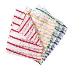 Colour Coded Striped Dish Wiping Cloths Pack 10 (Various Colours)