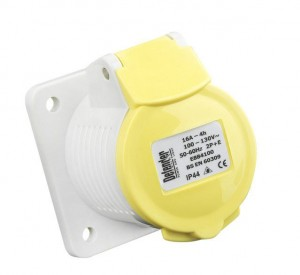 Defender 16amp Industrial Panel Socket Yellow 110v