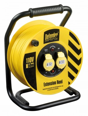 Defender Heavy Duty 50mtr Cable Extension Reel 110v/16a E86500/10