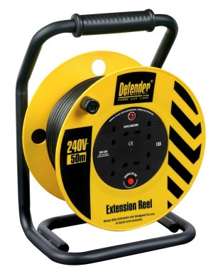 Defender Heavy Duty 50mtr Cable Extension Reel 240v/13a E86515