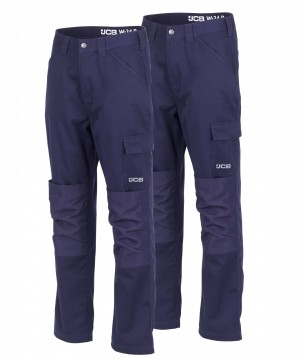 JCB Twin Pack Essential Cargo Work Trousers Navy (Various Sizes)
