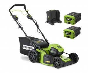Greenworks GD60LM46SP Cordless 60v Self Propelled Lawn Mower 46cm/18in with 2 x 2.0Ah Batts