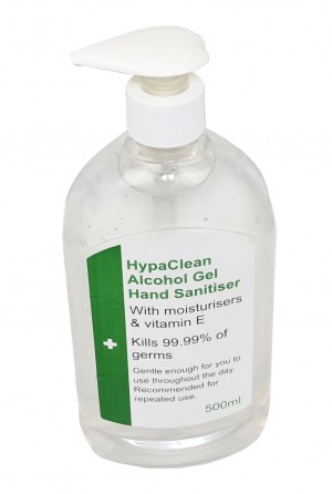 HypaClean Alcohol Hand Sanitiser Gel 500ml with Moisturisers & Pump Bottle Pack of 6