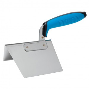 OX Pro Dry Wall External Corner Trowel with Duragrip Handle Stainless Steel - 100 x 125mm