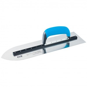 OX Pro Heavy Duty Pointed Flooring Trowel Stainless Steel Blade with Duragrip Handle (400 or 450mm)