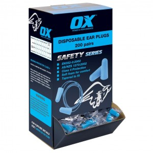 OX Disposable Ear Plugs Box of 200 Pairs (Corded or Un-Corded)