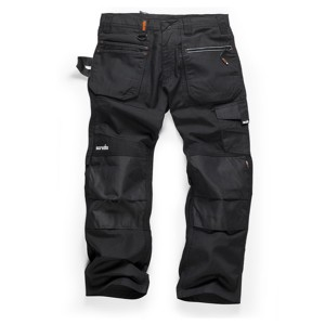 Scruffs Ripstop Trade Work Trousers with Multiple & Knee Pad Pockets Black (Various Sizes)