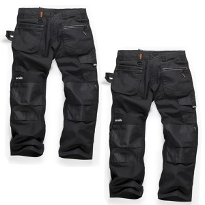 Scruffs Ripstop TWIN PACK Trade Work Trousers with Multiple & Knee Pad Pockets Black (Various Sizes)